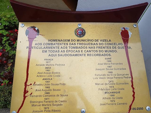 Vandalizado Monumento aos Combatentes do Vale de Vizela