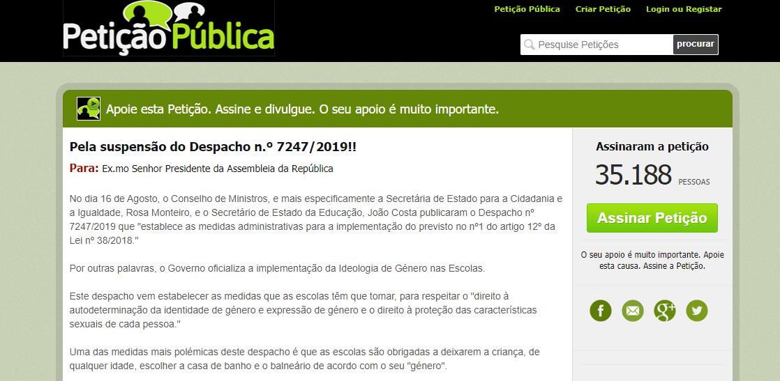 """Petição Contra o """"Despacho da Ideologia de Género"""" Tem Mais de 35.000 Assinaturas"""