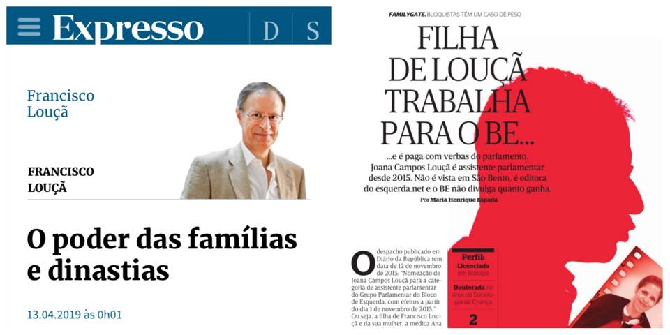 Filha de Louçã, do esquerda.net, é Paga pelo Estado – Silêncio do BE sobre Nepotismo do PS Explicado